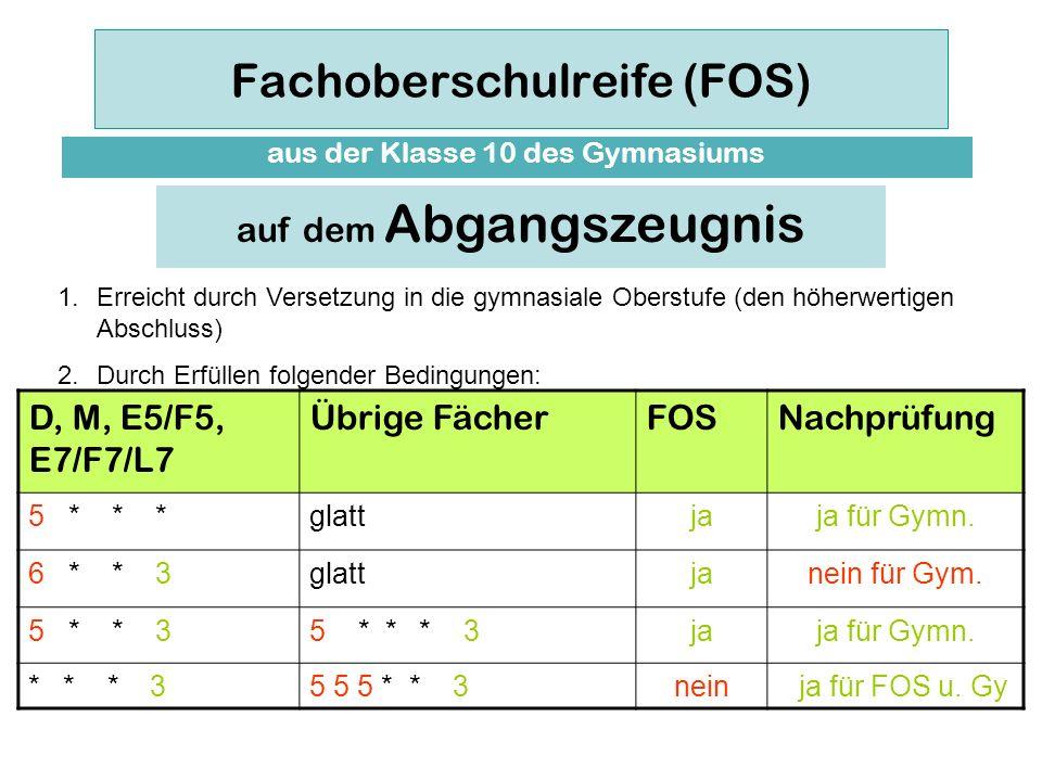 Fachoberschulreife (FOS) aus der Klasse 10 des Gymnasiums Bei der Vergabe der Fachoberschulreife kann die Note der dritten Fremdsprache an die Stelle der zweiten Fremdsprache treten.