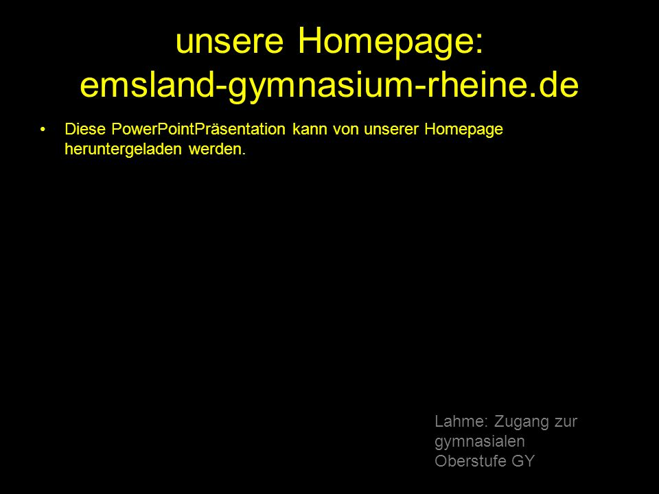 Lahme: ppt\Zugang zur gymnasialen Oberstufe GY