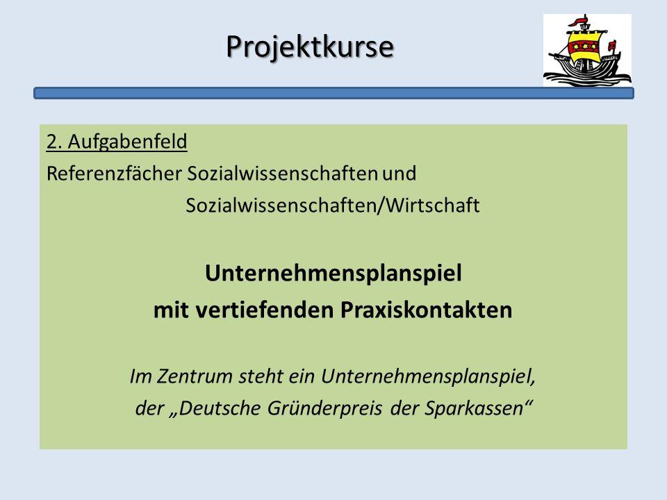 Projektkurse Projektkurse 2. Aufgabenfeld Referenzfächer Sozialwissenschaften und Sozialwissenschaften/Wirtschaft Unternehmensplanspiel mit vertiefend