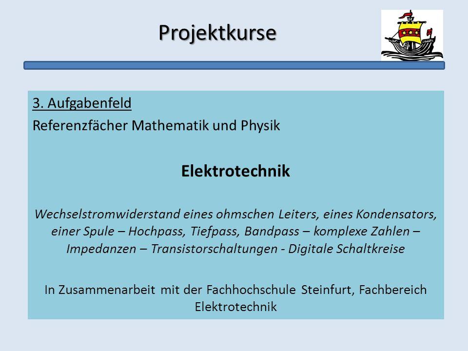 Projektkurse Projektkurse 3. Aufgabenfeld Referenzfächer Mathematik und Physik Elektrotechnik Wechselstromwiderstand eines ohmschen Leiters, eines Kon
