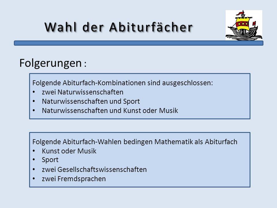Wahl der Abiturfächer Folgerungen : Folgende Abiturfach-Kombinationen sind ausgeschlossen: zwei Naturwissenschaften Naturwissenschaften und Sport Natu