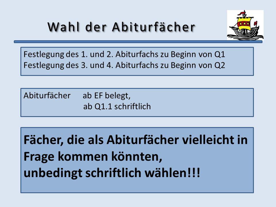 Wahl der Abiturfächer Festlegung des 1. und 2. Abiturfachs zu Beginn von Q1 Festlegung des 3. und 4. Abiturfachs zu Beginn von Q2 Abiturfächer ab EF b