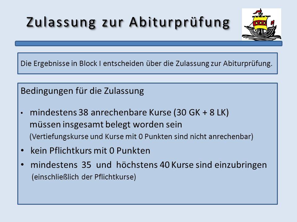 Zulassung zur Abiturprüfung Die Ergebnisse in Block I entscheiden über die Zulassung zur Abiturprüfung. Bedingungen für die Zulassung mindestens 38 an