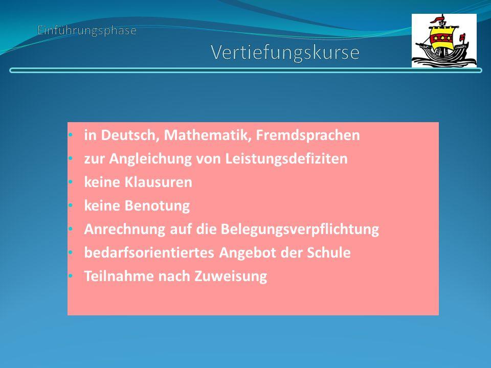 in Deutsch, Mathematik, Fremdsprachen zur Angleichung von Leistungsdefiziten keine Klausuren keine Benotung Anrechnung auf die Belegungsverpflichtung