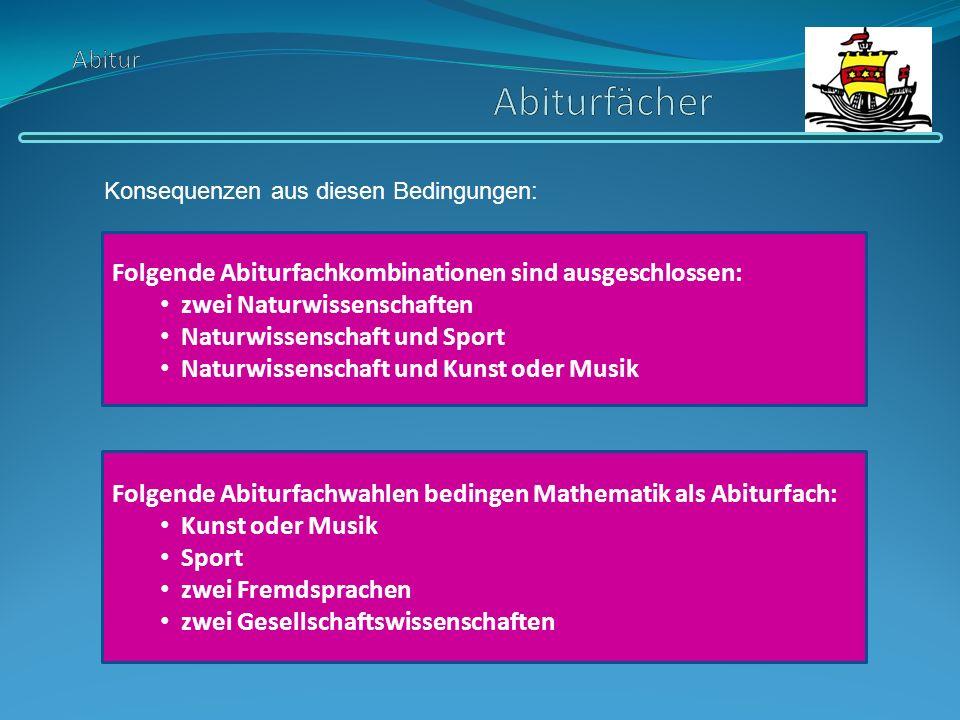 Folgende Abiturfachkombinationen sind ausgeschlossen: zwei Naturwissenschaften Naturwissenschaft und Sport Naturwissenschaft und Kunst oder Musik Folg