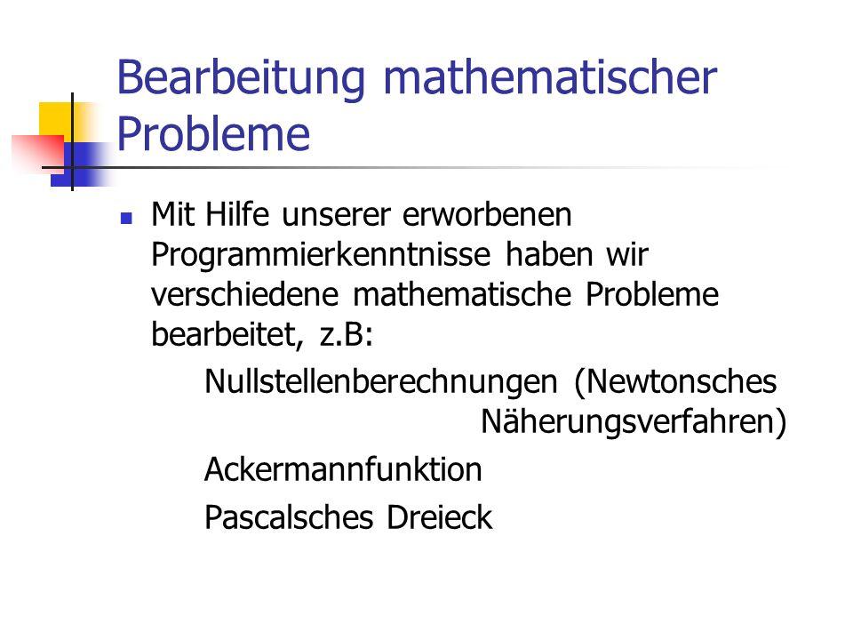 Bearbeitung mathematischer Probleme Mit Hilfe unserer erworbenen Programmierkenntnisse haben wir verschiedene mathematische Probleme bearbeitet, z.B: