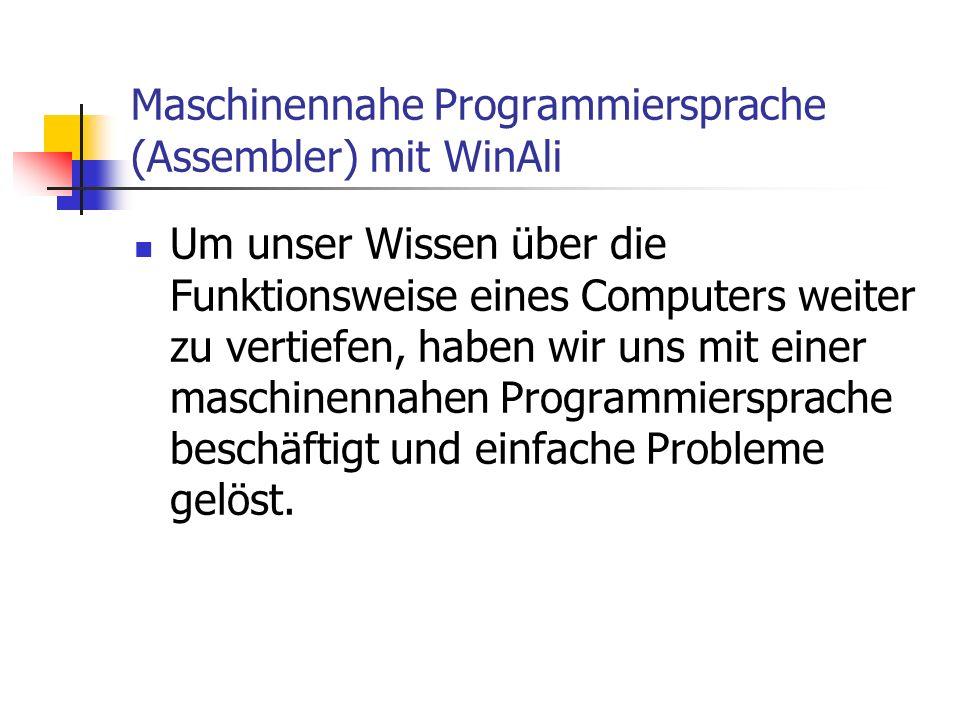 Maschinennahe Programmiersprache (Assembler) mit WinAli Um unser Wissen über die Funktionsweise eines Computers weiter zu vertiefen, haben wir uns mit