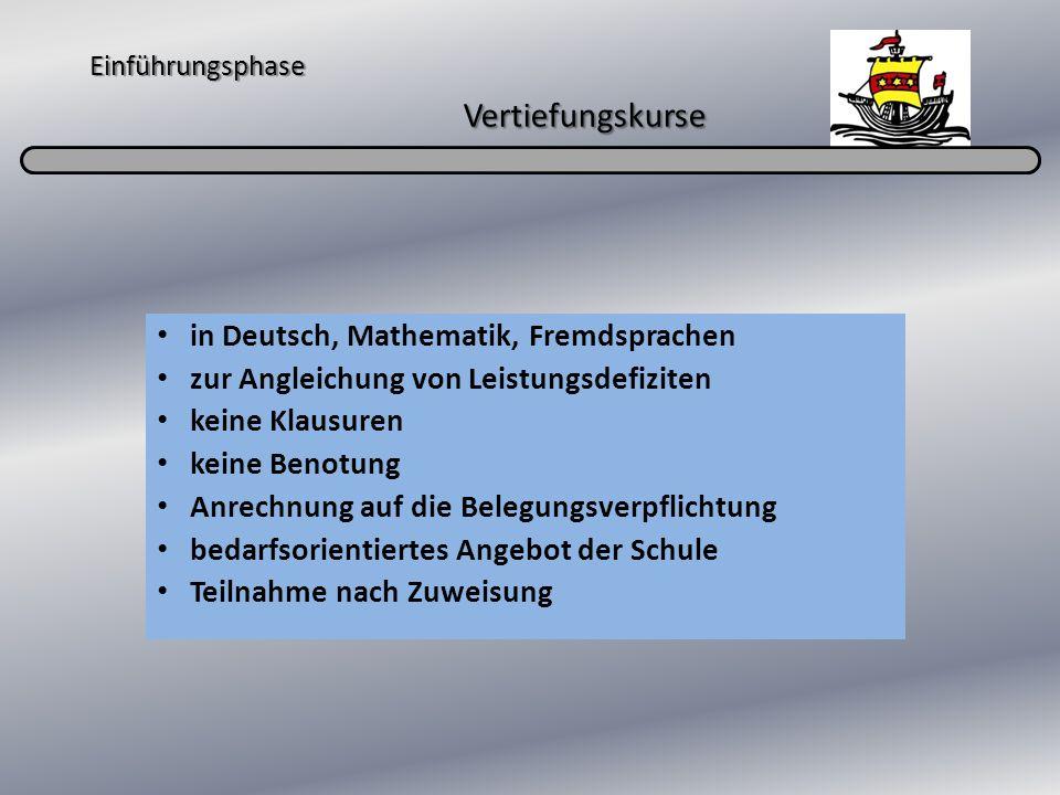 Einführungsphase Vertiefungskurse in Deutsch, Mathematik, Fremdsprachen zur Angleichung von Leistungsdefiziten keine Klausuren keine Benotung Anrechnu
