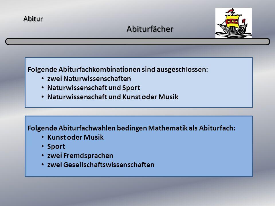 Abitur Abiturfächer Folgende Abiturfachkombinationen sind ausgeschlossen: zwei Naturwissenschaften Naturwissenschaft und Sport Naturwissenschaft und K