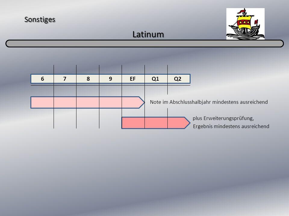 Sonstiges Latinum Note im Abschlusshalbjahr mindestens ausreichend plus Erweiterungsprüfung, Ergebnis mindestens ausreichend 6 7 8 9 EF Q1 Q2