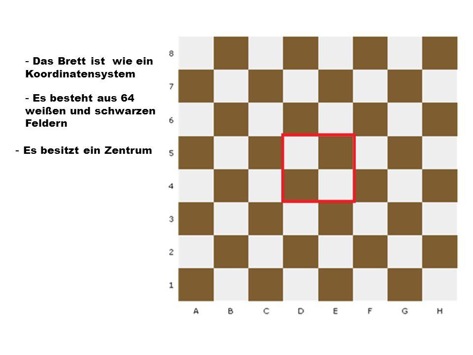 - Das Brett ist wie ein Koordinatensystem - Es besteht aus 64 weißen und schwarzen Feldern - Es besitzt ein Zentrum