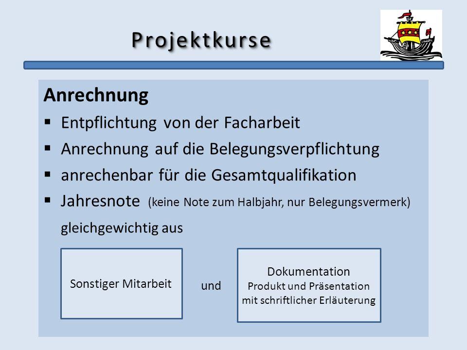 ProjektkurseProjektkurse Anrechnung Entpflichtung von der Facharbeit Anrechnung auf die Belegungsverpflichtung anrechenbar für die Gesamtqualifikation