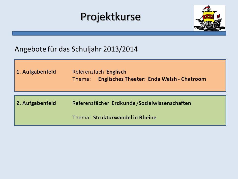 Projektkurse Projektkurse Angebote für das Schuljahr 2013/2014 1. AufgabenfeldReferenzfach Englisch Thema: Englisches Theater: Enda Walsh - Chatroom 2