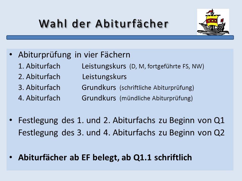 Wahl der Abiturfächer Abiturprüfung in vier Fächern 1. AbiturfachLeistungskurs (D, M, fortgeführte FS, NW) 2. Abiturfach Leistungskurs 3. AbiturfachGr