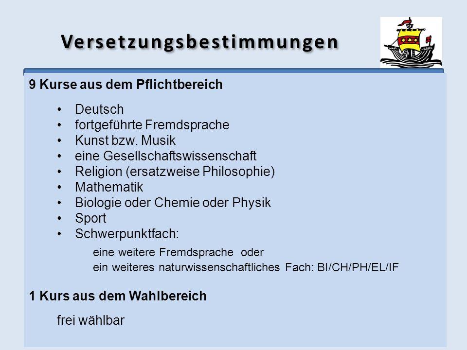 Versetzungsbestimmungen 9 Kurse aus dem Pflichtbereich Deutsch fortgeführte Fremdsprache Kunst bzw. Musik eine Gesellschaftswissenschaft Religion (ers