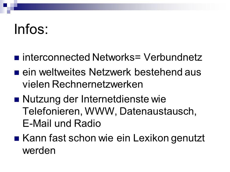 Infos: interconnected Networks= Verbundnetz ein weltweites Netzwerk bestehend aus vielen Rechnernetzwerken Nutzung der Internetdienste wie Telefoniere
