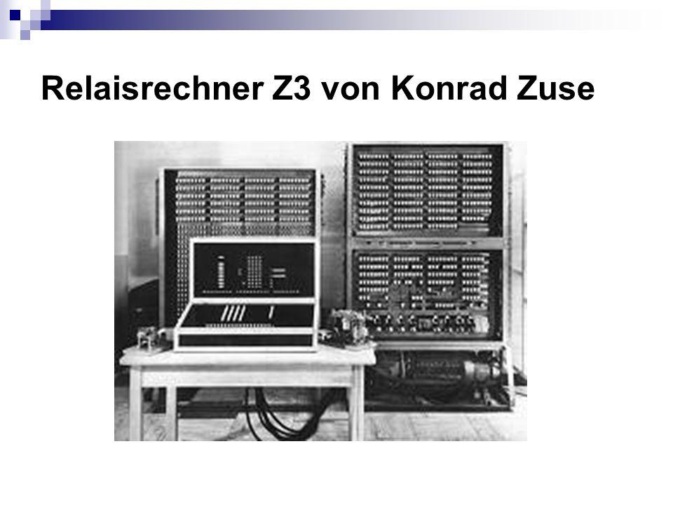 Infos über Z3 Die Z3 ist der ungefähre elektromechanische Nachbau der Z1 1941 baute Zuse den Z3 Die Z3 war im Mai 1941 der erste voll funktionsfähige Computer Sie wurde im 2.Weltkrieg zerstört