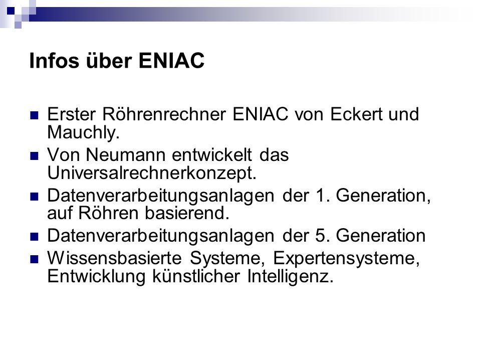 Infos über ENIAC Erster Röhrenrechner ENIAC von Eckert und Mauchly. Von Neumann entwickelt das Universalrechnerkonzept. Datenverarbeitungsanlagen der