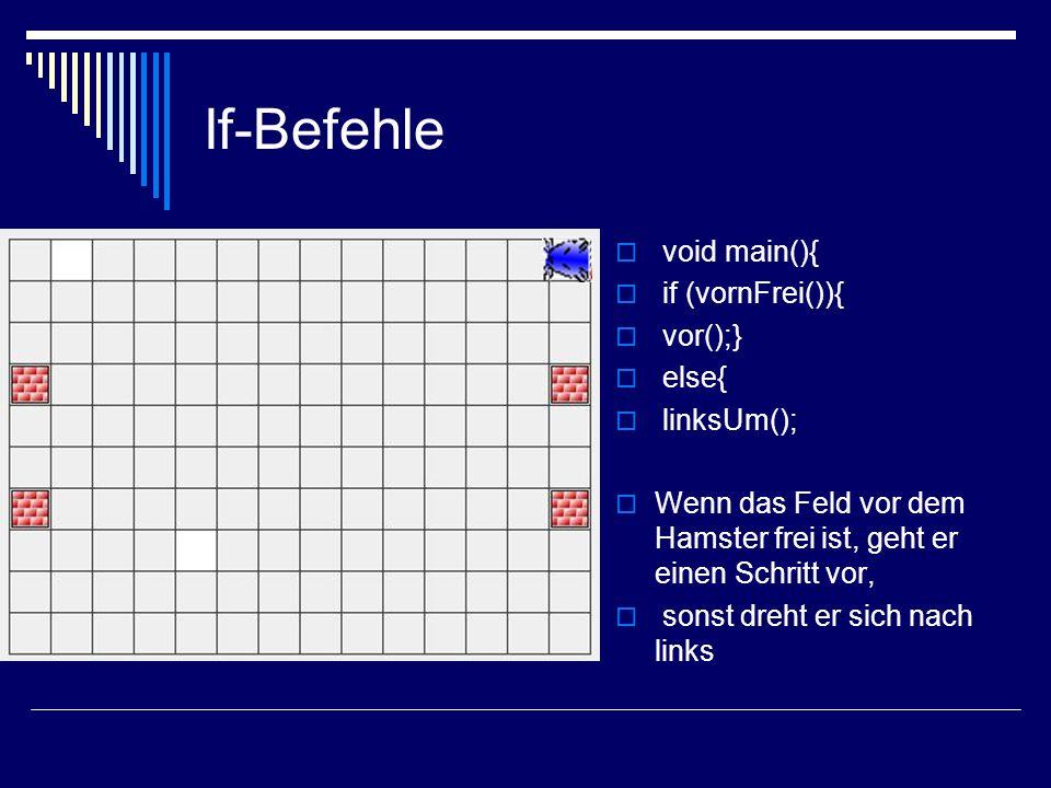 If-Befehle void main(){ if (vornFrei()){ vor();} else{ linksUm(); Wenn das Feld vor dem Hamster frei ist, geht er einen Schritt vor, sonst dreht er si