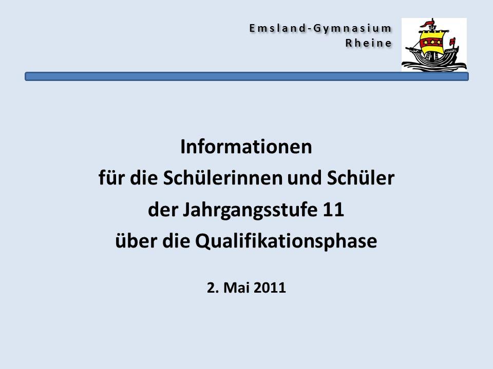Emsland-Gymnasium Rheine Informationen für die Schülerinnen und Schüler der Jahrgangsstufe 11 über die Qualifikationsphase 2. Mai 2011