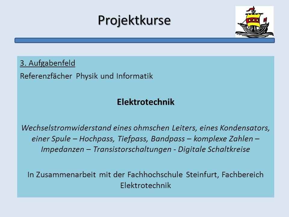 Projektkurse Projektkurse 3. Aufgabenfeld Referenzfächer Physik und Informatik Elektrotechnik Wechselstromwiderstand eines ohmschen Leiters, eines Kon
