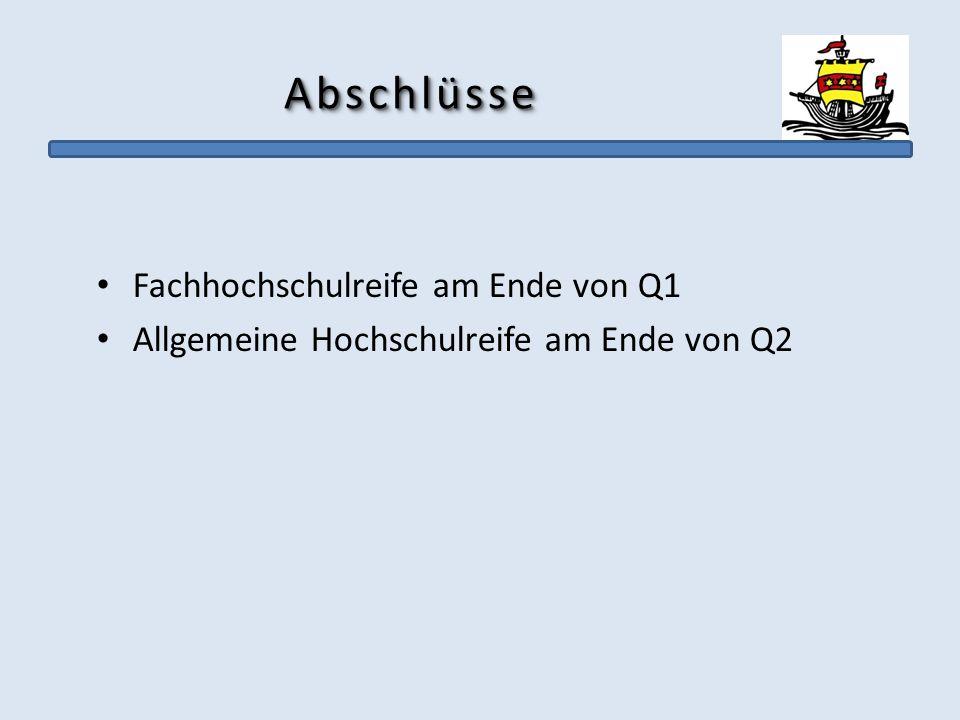 AbschlüsseAbschlüsse Fachhochschulreife am Ende von Q1 Allgemeine Hochschulreife am Ende von Q2