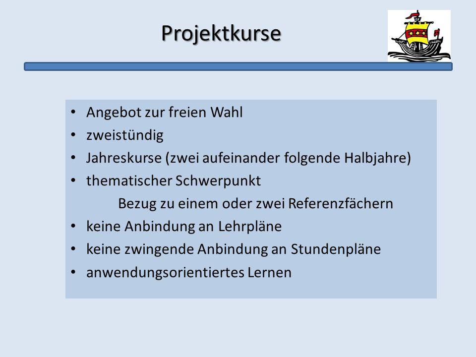 Projektkurse Projektkurse Angebot zur freien Wahl zweistündig Jahreskurse (zwei aufeinander folgende Halbjahre) thematischer Schwerpunkt Bezug zu eine