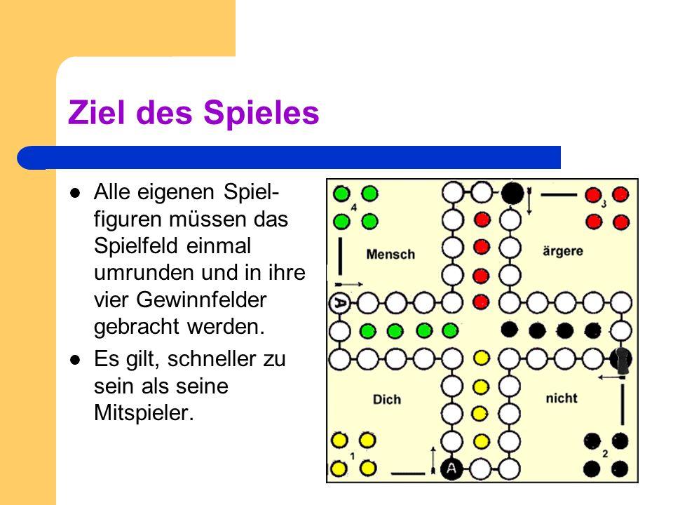 Vor dem Spiel Jeder Spieler hat vier Spielfiguren. Sie werden in die vier Ecken gestellt.