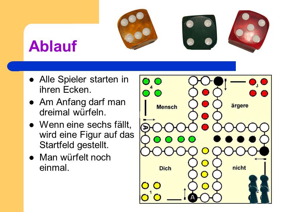 Ziel des Spieles Alle eigenen Spiel- figuren müssen das Spielfeld einmal umrunden und in ihre vier Gewinnfelder gebracht werden. Es gilt, schneller zu