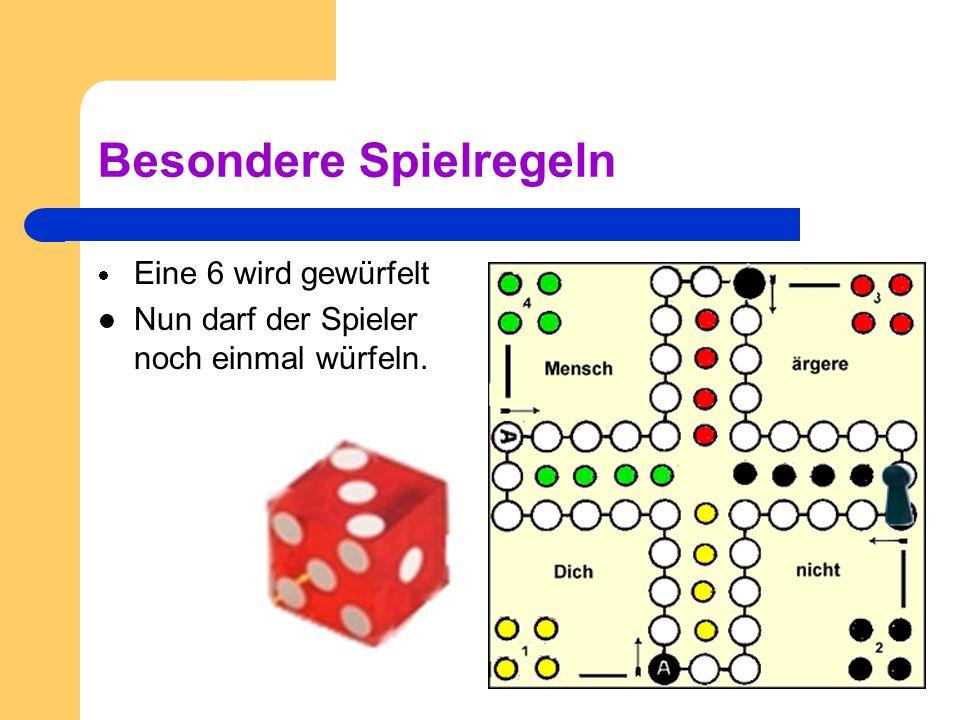 Ablauf Alle Spieler starten in ihren Ecken. Am Anfang darf man dreimal würfeln. Wenn eine sechs fällt, wird eine Figur auf das Startfeld gestellt. Man