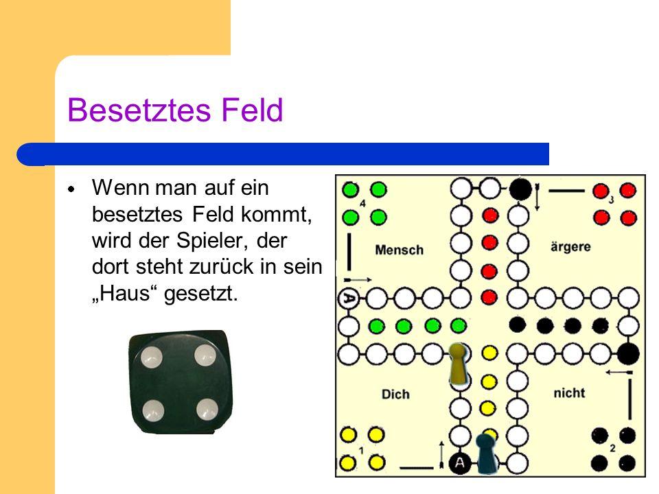 Besondere Spielregeln Eine 6 wird gewürfelt Nun darf der Spieler noch einmal würfeln.