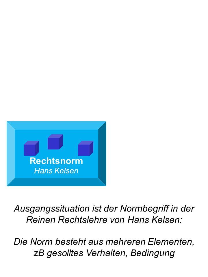 Rechtsnorm Hans Kelsen Ausgangssituation ist der Normbegriff in der Reinen Rechtslehre von Hans Kelsen: Die Norm besteht aus mehreren Elementen, zB ge
