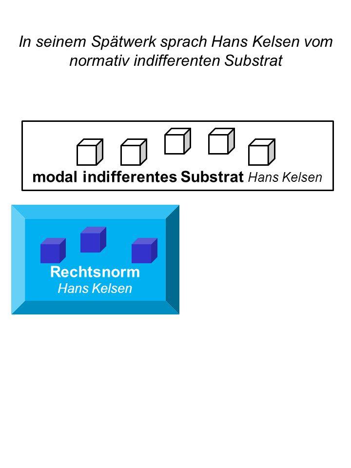 Rechtsnorm Hans Kelsen modal indifferentes Substrat Hans Kelsen In seinem Spätwerk sprach Hans Kelsen vom normativ indifferenten Substrat