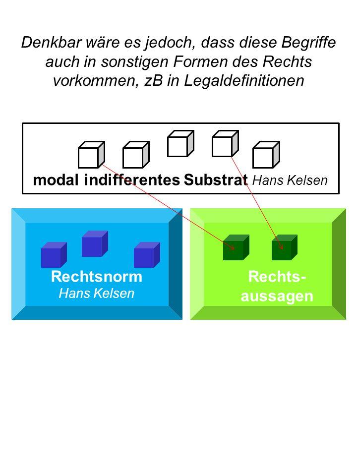 Rechtsnorm Hans Kelsen Rechts- aussagen modal indifferentes Substrat Hans Kelsen Denkbar wäre es jedoch, dass diese Begriffe auch in sonstigen Formen