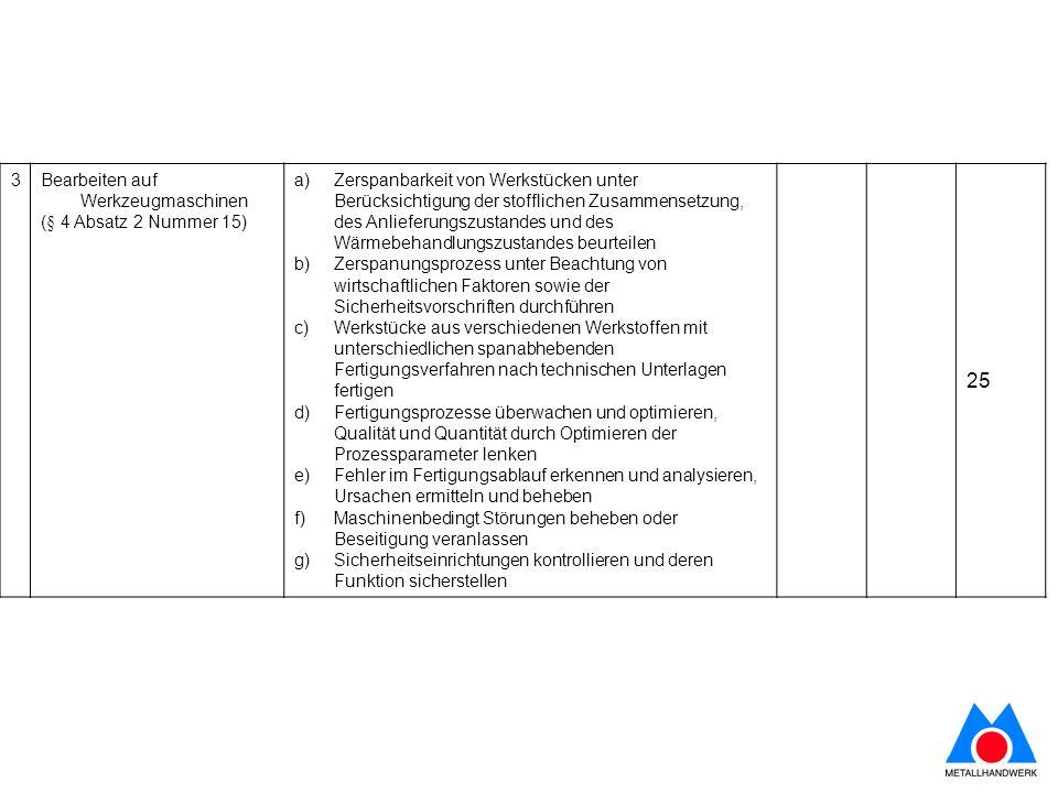 3Bearbeiten auf Werkzeugmaschinen (§ 4 Absatz 2 Nummer 15) a)Zerspanbarkeit von Werkstücken unter Berücksichtigung der stofflichen Zusammensetzung, de