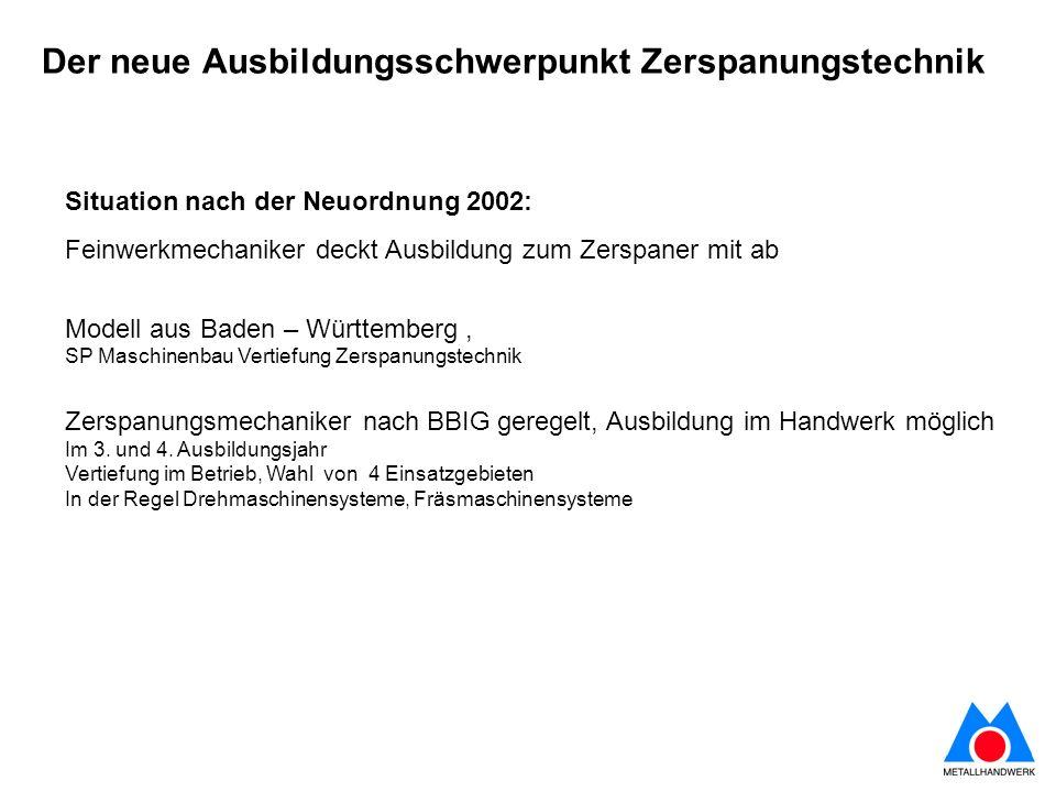Situation nach der Neuordnung 2002: Feinwerkmechaniker deckt Ausbildung zum Zerspaner mit ab Modell aus Baden – Württemberg, SP Maschinenbau Vertiefun