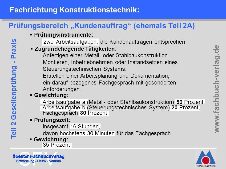 Fachrichtung Konstruktionstechnik: Prüfungsbereich Kundenauftrag (ehemals Teil 2A) Prüfungsinstrumente: zwei Arbeitsaufgaben, die Kundenaufträgen ents