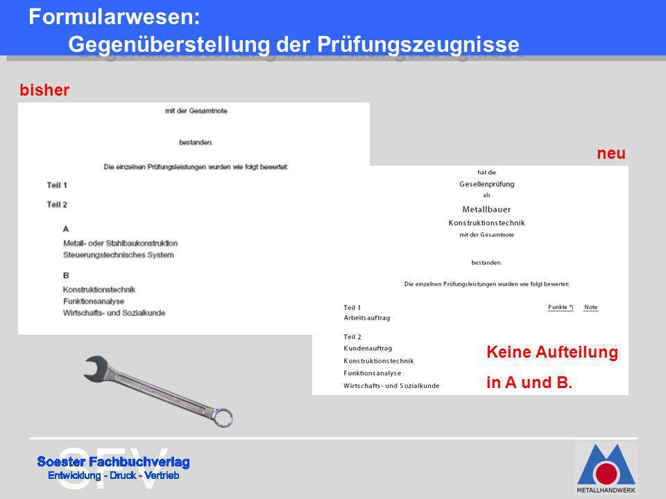 Formularwesen: Gegenüberstellung der Prüfungszeugnisse bisher neu Keine Aufteilung in A und B.