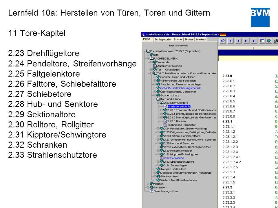 11 Lernfeld 10a: Herstellen von Türen, Toren und Gittern 11 Tore-Kapitel 2.23 Drehflügeltore 2.24 Pendeltore, Streifenvorhänge 2.25 Faltgelenktore 2.2