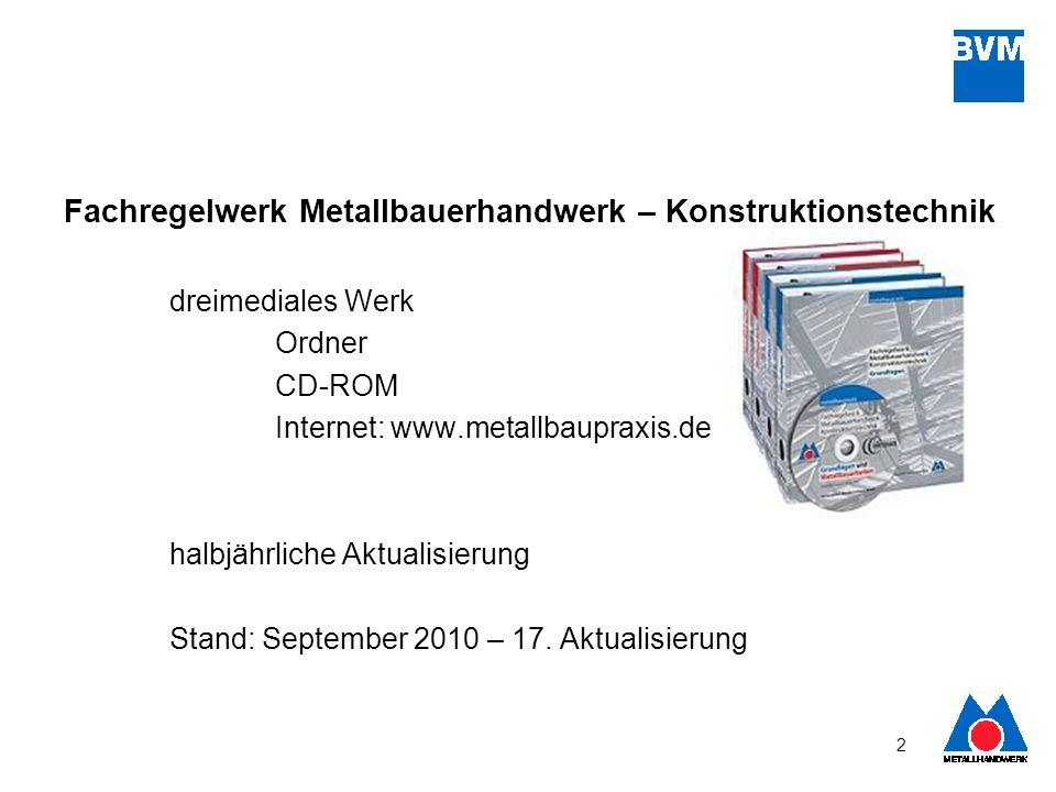 2 Fachregelwerk Metallbauerhandwerk – Konstruktionstechnik dreimediales Werk Ordner CD-ROM Internet: www.metallbaupraxis.de halbjährliche Aktualisieru