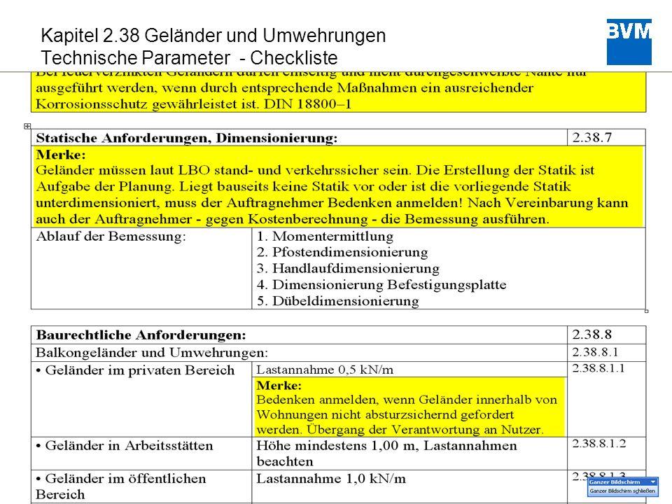 22 Kapitel 2.38 Geländer und Umwehrungen Technische Parameter - Checkliste