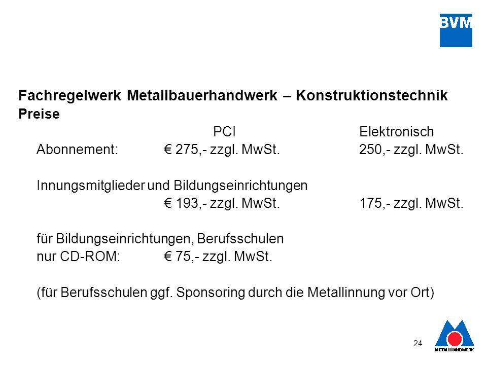 24 Fachregelwerk Metallbauerhandwerk – Konstruktionstechnik Preise PCIElektronisch Abonnement: 275,- zzgl. MwSt. 250,- zzgl. MwSt. Innungsmitglieder u