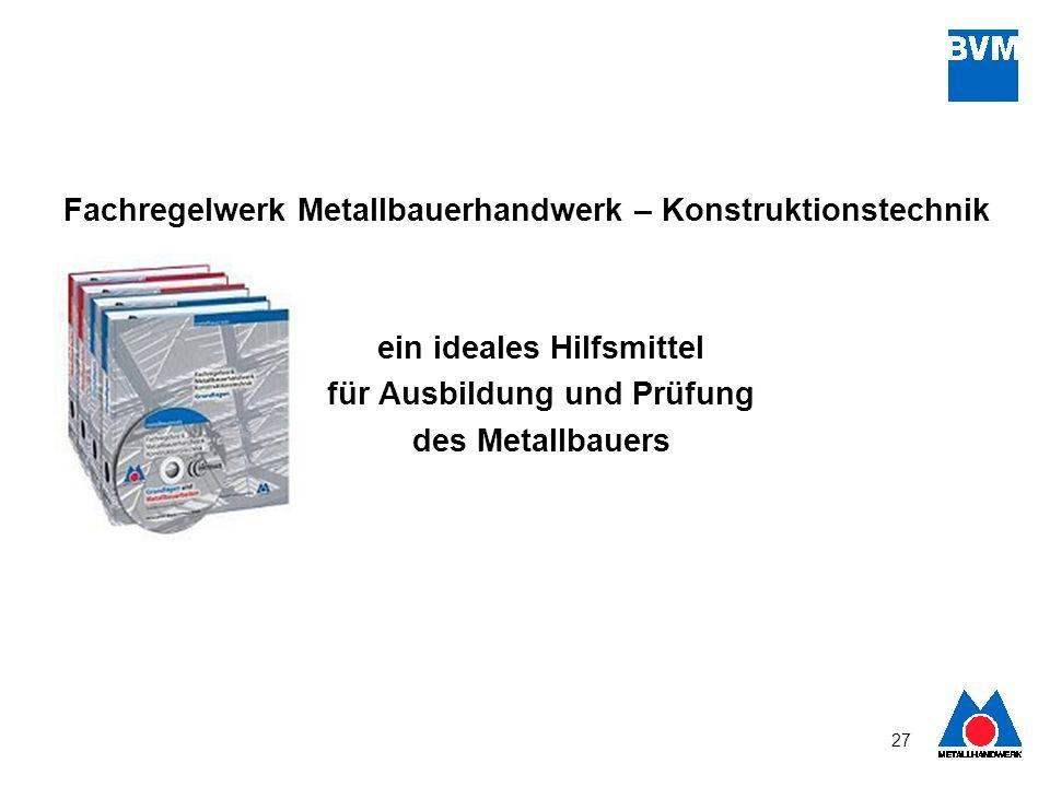 27 Fachregelwerk Metallbauerhandwerk – Konstruktionstechnik ein ideales Hilfsmittel für Ausbildung und Prüfung des Metallbauers