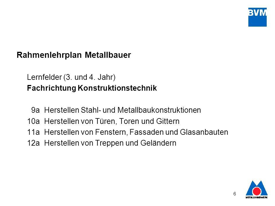 6 Rahmenlehrplan Metallbauer Lernfelder (3. und 4. Jahr) Fachrichtung Konstruktionstechnik 9aHerstellen Stahl- und Metallbaukonstruktionen 10aHerstell