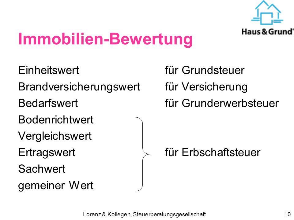 Lorenz & Kollegen, Steuerberatungsgesellschaft9 Erbschaftsteuertarif 2009 WertSteuerklasse I II III bis 75.000 7%30%30% bis 300.00011%30%30% bis 600.0