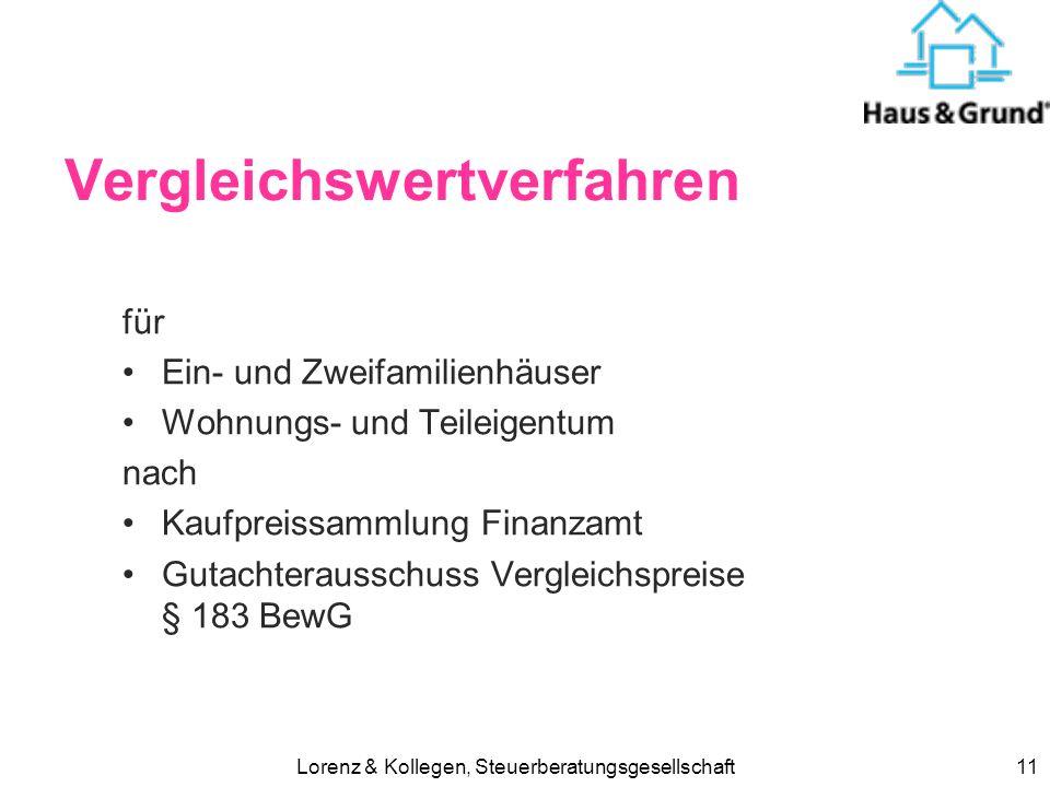 Lorenz & Kollegen, Steuerberatungsgesellschaft10 Immobilien-Bewertung Einheitswertfür Grundsteuer Brandversicherungswertfür Versicherung Bedarfswertfü