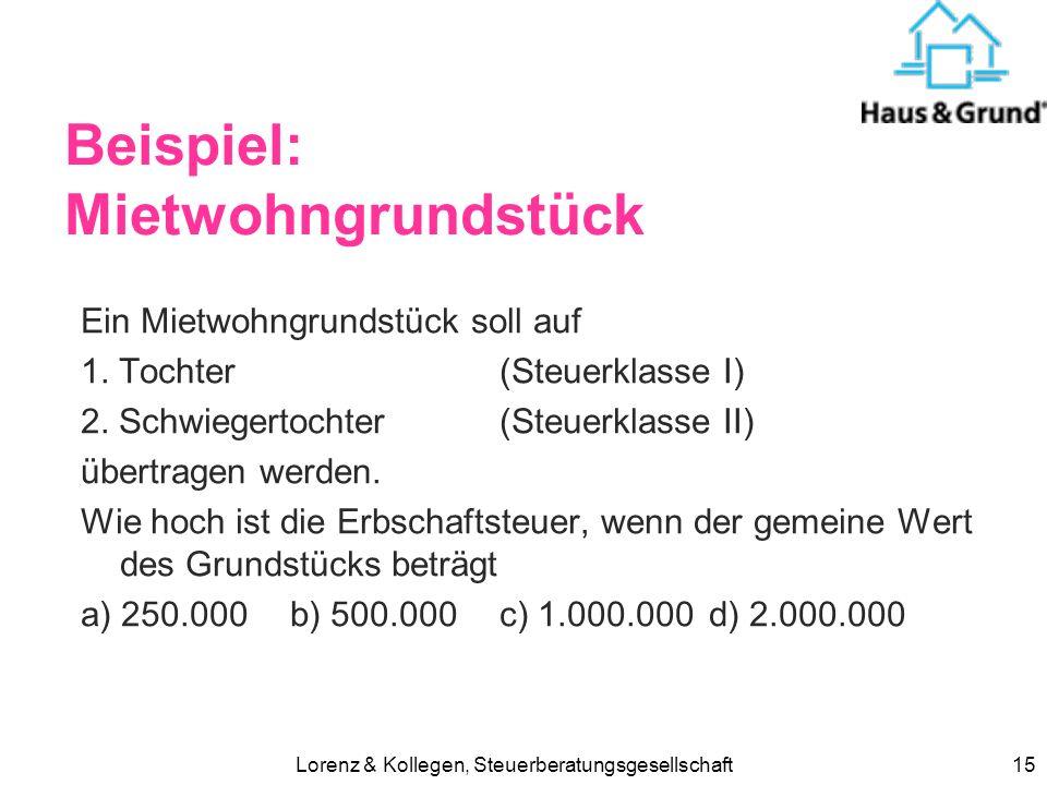 Lorenz & Kollegen, Steuerberatungsgesellschaft14 Sachwertverfahren (z.B. für Büro) Bodenrichtwert x Grundstücksfläche = Bodenwert Flächenpreis (Regelh
