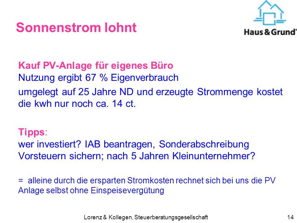 Lorenz & Kollegen, Steuerberatungsgesellschaft14 Sonnenstrom lohnt Kauf PV-Anlage für eigenes Büro Nutzung ergibt 67 % Eigenverbrauch umgelegt auf 25 Jahre ND und erzeugte Strommenge kostet die kwh nur noch ca.