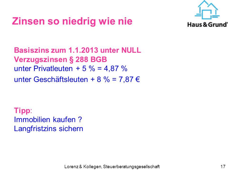 Lorenz & Kollegen, Steuerberatungsgesellschaft17 Zinsen so niedrig wie nie Basiszins zum 1.1.2013 unter NULL Verzugszinsen § 288 BGB unter Privatleuten + 5 % = 4,87 % unter Geschäftsleuten + 8 % = 7,87 Tipp: Immobilien kaufen .