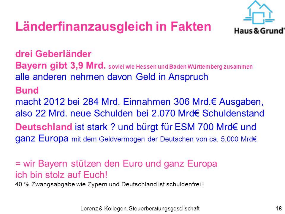 Lorenz & Kollegen, Steuerberatungsgesellschaft18 Länderfinanzausgleich in Fakten drei Geberländer Bayern gibt 3,9 Mrd.
